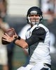 Sep 15, 2013; Oakland, CA, USA; Jacksonville Jaguars quarterback Chad Henne (7) throws a pass against the Oakland Raiders at O.co Coliseum. Mandatory Credit: Kirby Lee-USA TODAY Sports