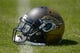 Sep 15, 2013; Oakland, CA, USA; General view of a Jacksonville Jaguars helmet on the field during the game against the Oakland Raiders at O.co Coliseum. Mandatory Credit: Kirby Lee-USA TODAY Sports