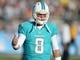 Aug 4, 2013; Canton, OH, USA; Miami Dolphins quarterback Matt Moore (8) during the 2013 Hall of Fame Game against the Dallas Cowboys at Fawcett Stadium. The Cowboys defeated the Dolphins 24-20. Mandatory Credit: Kirby Lee-USA TODAY Sports