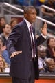 Oct 21, 2013; Toronto, Ontario, CAN; Toronto Raptors head coach Dwane Casey reacts to a play in the second half of a game against the New York Knicks at the Air Canada Centre.Toronto won the game in overtime123-120. Mandatory Credit: Mark Konezny-USA TODAY Sports
