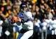 Oct 26, 2013; Iowa City, IA, USA; Northwestern Wildcats quarterback Trevor Siemian (13) looks to pass against the Iowa Hawkeyes in the second half at Kinnick Stadium. Mandatory Credit: Byron Hetzler-USA TODAY Sports