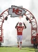 Oct 27, 2013; Kansas City, MO, USA; Kansas City Chiefs inside linebacker Akeem Jordan (55) is introduced before the game against the Cleveland Browns at Arrowhead Stadium. The Chiefs won 23-17.  Mandatory Credit: Denny Medley-USA TODAY Sports