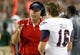 Sep 14, 2013; Tampa, FL, USA; Florida Atlantic Owls head coach Carl Pelini talks with Florida Atlantic Owls kicker Sean Kelly (16) against the South Florida Bulls during the second quarter at Raymond James Stadium. Florida Atlantic Owls defeated the South Florida Bulls 28-10. Mandatory Credit: Kim Klement-USA TODAY Sports