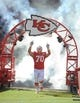 Oct 27, 2013; Kansas City, MO, USA; Kansas City Chiefs defensive end Mike DeVito (70) is introduced before the game against the Cleveland Browns at Arrowhead Stadium. The Chiefs won 23-17.  Mandatory Credit: Denny Medley-USA TODAY Sports