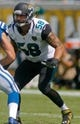 Sep 29, 2013; Jacksonville, FL, USA; Jacksonville Jaguars defensive end Jason Babin (58) during the game against the Indianapolis Colts at EverBank Field. The Indianapolis Colts beat the Jacksonville Jaguars 37-3. Mandatory Credit: Phil Sears-USA TODAY Sports