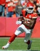 Oct 27, 2013; Kansas City, MO, USA; Kansas City Chiefs running back Jamaal Charles (25) carries the ball against the Cleveland Browns in the first half at Arrowhead Stadium. Mandatory Credit: John Rieger-USA TODAY Sports