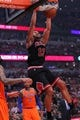 Oct 31, 2013; Chicago, IL, USA; Chicago Bulls center Joakim Noah (13) dunks during the second half against the New York Knicks at the United Center. Chicago won 82-81. Mandatory Credit: Dennis Wierzbicki-USA TODAY Sports