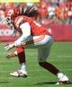 Sep 29, 2013; Kansas City, MO, USA; Kansas City Chiefs cornerback Dunta Robinson (21) during the game against the New York Giants at Arrowhead Stadium. The Chiefs won 31-7. Mandatory Credit: Denny Medley-USA TODAY Sports