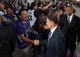 Oct 30, 2013; Sacramento, CA, USA; Sacramento Kings owner Vivek Ranadive shakes hands with fans upon his arrival to the Sleep Train Arena for the game between the Sacramento Kings and Denver Nuggets. Mandatory Credit: Ed Szczepanski-USA TODAY Sports