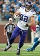 Sep 8, 2013; Detroit, MI, USA; Minnesota Vikings tight end Kyle Rudolph (82) runs the ball against the Detroit Lions at Ford Field. Mandatory Credit: Tim Fuller-USA TODAY Sports