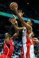 Nov 1, 2013; Atlanta, GA, USA; Toronto Raptors small forward Rudy Gay (22) shoots a basket in the first quarter against the Atlanta Hawks at Philips Arena. Mandatory Credit: Daniel Shirey-USA TODAY Sports
