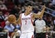 Nov 1, 2013; Houston, TX, USA; Houston Rockets point guard Jeremy Lin (7) brings the ball up the court during the second quarter against the Dallas Mavericks at Toyota Center. Mandatory Credit: Troy Taormina-USA TODAY Sports