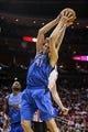 Nov 1, 2013; Houston, TX, USA; Dallas Mavericks power forward Dirk Nowitzki (41) gets a rebound during the second quarter against the Houston Rockets at Toyota Center. Mandatory Credit: Troy Taormina-USA TODAY Sports