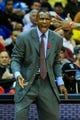 Nov 1, 2013; Atlanta, GA, USA; Toronto Raptors head coach Dwane Casey calls to his players in the second half against the Atlanta Hawks at Philips Arena. The Hawks won 102-95. Mandatory Credit: Daniel Shirey-USA TODAY Sports