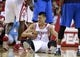 Nov 1, 2013; Houston, TX, USA; Houston Rockets point guard Jeremy Lin (7) reacts after a play during the third quarter against the Dallas Mavericks at Toyota Center. The Rockets defeated the Mavericks 113-105. Mandatory Credit: Troy Taormina-USA TODAY Sports
