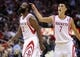 Nov 1, 2013; Houston, TX, USA; Houston Rockets point guard Jeremy Lin (7) congratulates shooting guard James Harden (13) after a play during the fourth quarter against the Dallas Mavericks at Toyota Center. The Rockets defeated the Mavericks 113-105. Mandatory Credit: Troy Taormina-USA TODAY Sports