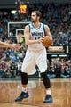 Nov 1, 2013; Minneapolis, MN, USA; Minnesota Timberwolves power forward Kevin Love (42) looks to pass against the Oklahoma City Thunder in the third quarter at Target Center. Timberwolves won 100-81. Mandatory Credit: Greg Smith-USA TODAY Sports