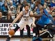 Nov 1, 2013; Minneapolis, MN, USA; Minnesota Timberwolves power forward Kevin Love (42) dribbles while defended by Oklahoma City Thunder power forward Serge Ibaka (9) in the second quarter at Target Center. Timberwolves won 100-81. Mandatory Credit: Greg Smith-USA TODAY Sports