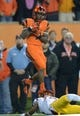Nov 1, 2013; Corvallis, OR, USA; Oregon State Beavers receiver Brandon Cooks (7) is defended by Southern California Trojans cornerback Kevon Seymour (13) on a 27-yard touchdown reception in the second quarter at Reser Stadium. Mandatory Credit: Kirby Lee-USA TODAY Sports
