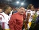 Nov 1, 2013; Corvallis, OR, USA; Southern California Trojans coach Ed Orgeron (center) celebrates with fullback Jahleel Pinner (38) and defensive end Leonard Williams (94) after the game against the Oregon State Beavers at Reser Stadium. USC defeated Oregon State 31-14.  Mandatory Credit: Kirby Lee-USA TODAY Sports