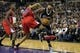 Nov 1, 2013; Sacramento, CA, USA; Sacramento Kings center DeMarcus Cousins (15) goes to the basket against Los Angeles Clippers center Ryan Hollins (15) during the third quarter at Sleep Train Arena. The Los Angeles Clippers defeated the Sacramento Kings 110-101. Mandatory Credit: Kelley L Cox-USA TODAY Sports