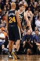 Nov 1, 2013; Phoenix, AZ, USA; Utah Jazz forward Gordon Hayward (20) is congratulated by teammate forward Richard Jefferson (24) in the game against the Phoenix Suns at US Airways Center.  The Suns defeated the Jazz 87-84. Mandatory Credit: Jennifer Stewart-USA TODAY Sports