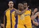 November 1, 2013; Los Angeles, CA, USA; Los Angeles Lakers shooting guard Jodie Meeks (20) reacts after he is fouled by San Antonio Spurs during the second half at Staples Center. Mandatory Credit: Gary A. Vasquez-USA TODAY Sports