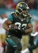 Oct 27, 2013; London, United Kingdom; Jacksonville Jaguars running back Maurice Jones-Drew (32) carries the ball in the NFL International Series game against the San Francisco 49ers at Wembley Stadium. The 49ers defeated the Jaguars 42-10. Mandatory Credit: Kirby Lee-USA TODAY Sports