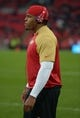 Oct 27, 2013; London, United Kingdom; San Francisco 49ers defensive lineman Lawrence Okoye wears British Union Jack Beats by Dre headphones before the NFL International Series game against the Jacksonville Jaguars at Wembley Stadium. Mandatory Credit: Kirby Lee-USA TODAY Sports