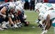 Oct 27, 2013; Foxborough, MA, USA; The New England Patriots and the Miami Dolphins line up at the line of scrimmage before the snap during the second quarter at Gillette Stadium. Mandatory Credit: Winslow Townson-USA TODAY Sports