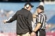 Nov 2, 2013; Foxborough, MA, USA; Northern Illinois Huskies head coach Rod Carey talks to an official during a break in the action as they take on Massachusetts Minutemen during the first half at Gillette Stadium. Mandatory Credit: David Butler II-USA TODAY Sports