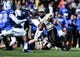 Nov 2, 2013; Colorado Springs, CO, USA; Army Black Knights quarterback Angel Santiago (3) scrambles in the second quarter against the Air Force Falcons at Falcon Stadium. Mandatory Credit: Ron Chenoy-USA TODAY Sports