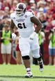 Nov 2, 2013; Columbia, SC, USA; Mississippi State Bulldogs offensive linesman Gabe Jackson (61) in the game against the South Carolina Gamecocks at Williams-Brice Stadium. The Gamecocks defeated the Bulldogs 34-16.  Mandatory Credit: Jeremy Brevard-USA TODAY Sports