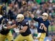 Nov 2, 2013; South Bend, IN, USA; Notre Dame Fighting Irish quarterback Tommy Rees (11) throws for a touchdown in the second quarter against the Navy Midshipmen at Notre Dame Stadium. Mandatory Credit: Matt Cashore-USA TODAY Sports