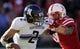 Nov 2, 2013; Lincoln, NE, USA; Nebraska Cornhuskers defender Jason Ankrah (9) sacks Northwestern Wildcats quarterback Kain Colter (2) in the second quarter at Memorial Stadium. Mandatory Credit: Bruce Thorson-USA TODAY Sports