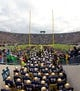 Nov 2, 2013; South Bend, IN, USA; The Notre Dame Fighting Irish take the field for the game against the Navy Midshipmen at Notre Dame Stadium. Notre Dame won 38-34. Mandatory Credit: Matt Cashore-USA TODAY Sports