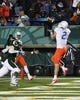 Nov 2, 2013; Fort Collins, CO, USA; Boise State Broncos wide receiver Matt Miller (2) scores a touchdown against Colorado State Rams cornerbacks Brandon Henrie (6) and Tyree Simmons (19) during the second quarter at Hughes Stadium. Mandatory Credit: Troy Babbitt-USA TODAY Sports