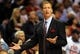 Nov 2, 2013; Portland, OR, USA; Portland Trail Blazers head coach Terry Stotts reacts to a call during the first quarter of the game against the San Antonio Spurs at  the Moda Center. Mandatory Credit: Steve Dykes-USA TODAY Sports