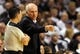 Nov 2, 2013; Portland, OR, USA; San Antonio Spurs head coach Gregg Popovich has some words with referee Pat Fraher (26) during the first quarter of the game at  the Moda Center. Mandatory Credit: Steve Dykes-USA TODAY Sports