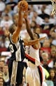 Nov 2, 2013; Portland, OR, USA; San Antonio Spurs power forward Boris Diaw (33) shoots the ball over Portland Trail Blazers power forward Thomas Robinson (41) during the first quarter of the game at  the Moda Center. Mandatory Credit: Steve Dykes-USA TODAY Sports