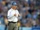 Nov 2, 2013; Pasadena, CA, USA; UCLA Bruins coach Jim Mora reacts during the game against the Colorado Buffaloes at Rose Bowl. UCLA defeated Colorado 45-23. Mandatory Credit: Kirby Lee-USA TODAY Sports
