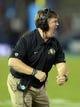 Nov 2, 2013; Pasadena, CA, USA; Colorado Buffaloes coach Mike MacIntyre reacts during the game against the UCLA Bruins at Rose Bowl. Mandatory Credit: Kirby Lee-USA TODAY Sports