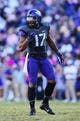 Nov 2, 2013; Fort Worth, TX, USA; TCU Horned Frogs safety Sam Carter (17) during the game against the West Virginia Mountaineers at Amon G. Carter Stadium. West Virginia won 30-27. Mandatory Credit: Kevin Jairaj-USA TODAY Sports