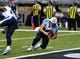 Nov 3, 2013; St. Louis, MO, USA; Tennessee Titans quarterback Jake Locker (10) dives into the end zone for a touchdown against the St. Louis Rams during the second half at the Edward Jones Dome. The Titans defeated the Rams 28-21. Mandatory Credit: Scott Rovak-USA TODAY Sports