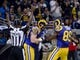 Nov 3, 2013; St. Louis, MO, USA; St. Louis Rams tight end Jared Cook (89) is congratulated after scoring a touchdown against the Tennessee Titans during the second half at the Edward Jones Dome. The Titans defeated the Rams 28-21. Mandatory Credit: Scott Rovak-USA TODAY Sports