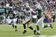 Nov 3, 2013; East Rutherford, NJ, USA; New Orleans Saints wide receiver Robert Meachem (17) runs after making a catch against the New York Jets during the first half at MetLife Stadium. The Jets won the game 26-20. Mandatory Credit: Joe Camporeale-USA TODAY Sports