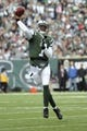 Nov 3, 2013; East Rutherford, NJ, USA; New York Jets quarterback Geno Smith (7) throws a pass against the New Orleans Saints during the first half at MetLife Stadium. The Jets won the game 26-20. Mandatory Credit: Joe Camporeale-USA TODAY Sports