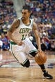 Nov 3, 2013; Auburn Hills, MI, USA; Boston Celtics shooting guard Courtney Lee (11) drives to the basket during the second quarter against the Detroit Pistons at The Palace of Auburn Hills. Mandatory Credit: Tim Fuller-USA TODAY Sports