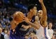 Nov 3, 2013; Oklahoma City, OK, USA; Phoenix Suns shooting guard Gerald Green (14) handles the ball against Oklahoma City Thunder point guard Derek Fisher (6) during the second quarter at Chesapeake Energy Arena. Mandatory Credit: Mark D. Smith-USA TODAY Sports