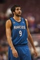oOct 23, 2013; Philadelphia, PA, USA; Minnesota Timberwolves guard Ricky Rubio (9) during the first quarter against the Philadelphia 76ers at Wells Fargo Center. The Timberwolves defeated the Sixers 125-102. Mandatory Credit: Howard Smith-USA TODAY Sports